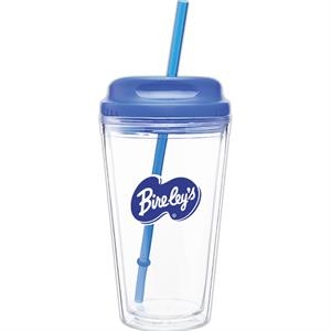 Spirit H/c - Blue - 16 Oz Acrylic Double Wall Tumbler With Threaded Lid/straw For Hot Or Cold Beverages