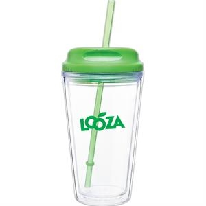 Spirit H/c - Apple - 16 Oz Acrylic Double Wall Tumbler With Threaded Lid/straw For Hot Or Cold Beverages