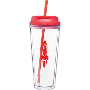 Spirit - Red - 20 Oz Acrylic Double Wall Tumbler With Threaded Lid/straw For Hot Or Cold Beverages