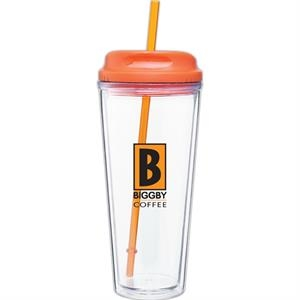 Spirit - Tangerine - 20 Oz Acrylic Double Wall Tumbler With Threaded Lid/straw For Hot Or Cold Beverages