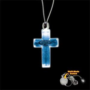 "High Quality, Cross Shape Blue Light-up Acrylic Pendant On A 24"" Necklace"