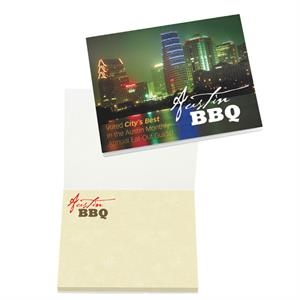 "4"" X 3"" Booklet With 50 Sheets Adhesive Notepad. Full Color Imprint Cover"