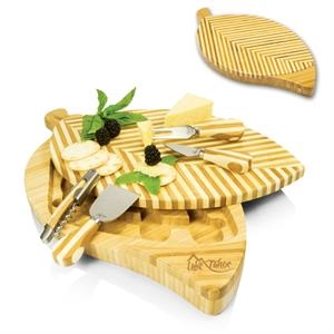 Leaf - Two-tiered Cutting Board With Striped Leaf Design, 3 Cheese Tools & Corkscrew