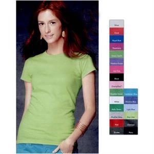 Anvil (r) - Heathers S- X L - Ladies' Preshrunk Semi-sheer Crewneck T-shirt. Blank Product