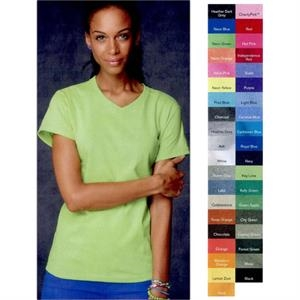 Anvil (r) - Neutrals S- X L - Ladies' 5.4 Oz., Pre-shrunk 100% Cotton V-neck T-shirt. Blank Product