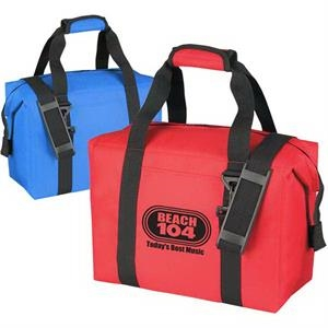 Cooler Tote, Holds 16-cans, Has Front Pocket And Webbed Carrying Handles