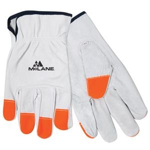 Hi-vis -  X L - All Leather Driver's Glove With High Visibility Fingertips