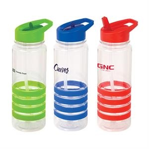 24 Oz Water Bottle With A Screw On Lid With Flip-up Straw