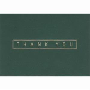 "Thank You In A Border With Green Background - Everyday Thank You Note Card, 3 1/2"" X 5"""