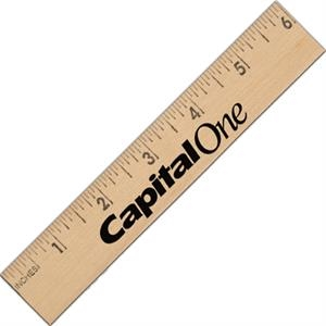 Six Inch Natural Wooden Ruler With Inch Scale