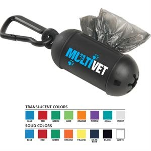 Bag Dispenser With Biodegradable Disposable Bags And Carabiner
