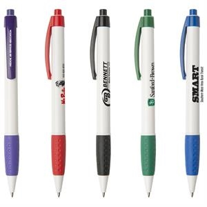 Newport Wg - Stylish Retractable Ballpoint Pen With White Barrel And Rubber Grip