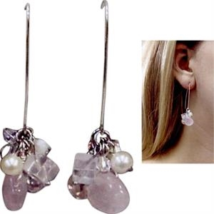 Eevah Sea Sparkle Eevah (tm) - Sea Sparkle Earrings Rose Quartz Bead, And Freshwater Pearls, And Quartz Beads