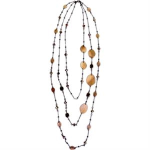 Eevah Antijuo Leaf - Without Tag - Three Stand Antique Copper Leaf Necklace With Copper Colored Beads And Crystal
