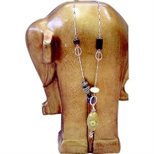 "Eevah Wild Plains - Without Tag - Silver Toned Necklace With Amber, Yellow, Green, Black Hued Beads. Aprrox 24"" Long"
