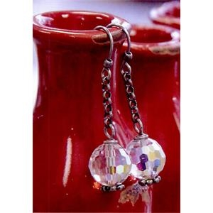 Eevah Eevah Ebony Waterfall - Crystal Beads Hang From A Silver Filled Chain, Has Silver Filled Ear Wires Earrings