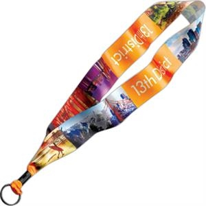 "1 1/2"" Dye-sublimated Satin Ribbon With Metal Crimp & Metal Split Ring"