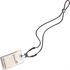 Dual Use Leather-like Trade Show Lanyard. Clearance