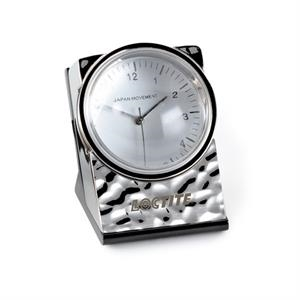 Signature - Desktop Clock With Rippled Chrome Finish, Removable Acrylic Magnifier & Glass Base