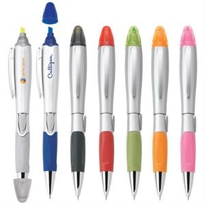 Silver Blossom - Ballpoint Plastic Pen/highlighter With Satin Silver Finish & Solid Colored Grip