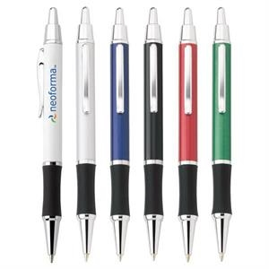 Omni - Push-action Ballpoint Metal Pen With Chrome Trim And Black Comfort Grip