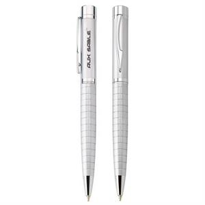 Jaguar - Satin Silver Twist-action Ballpoint Metal Pen With Ridged Barrel And Chrome Trim