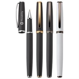 Renzo - Rollerball Brass Pen With Decorative Ridges On Lower Barrel & Pull-off Cap