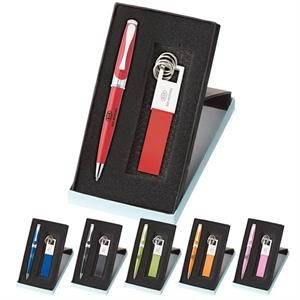 Maxine - Gift Set With Leather Key Ring And Maxine Twist-action Ballpoint Metal Pen
