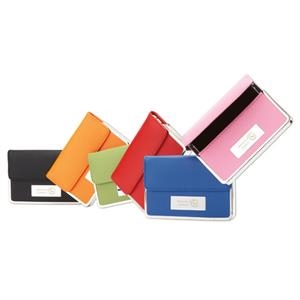 Colorplay - Leather Business Card Case With Chrome Plate And Trim