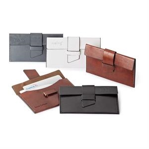 Fabrizio - Vinyl Card Case With Matching Exterior Flap, Brown Felt Lining & Loop Closure