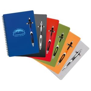 "Helix - Combo With Ballpoint Plastic Pen And 6 1/4"" X 8 1/2"" Polypropylene Notebook"