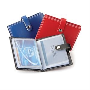 Bradford - Vinyl Card Holder With White Stitching And Snap Closure