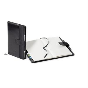 Lusso - Black Vinyl Portfolio With Decorative Stitching And Polyester Strip On The Front