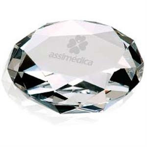 "Jaffa (r) Collection - Optical Crystal Faceted Paperweight, 3-1/8"" Dia. X 1""h"
