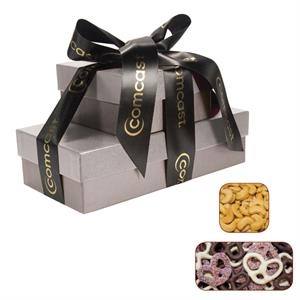 The Cosmopolitan Gift Box Tower with Pretzels and Cashews