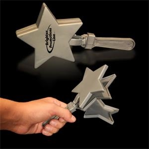"Silver 7"" Star Shaped Hand Clapper"