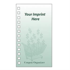 Coupon Organizer With 4 Color Process Dollar Sign & Shopping Cart Design On Cover