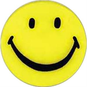 Smiley-face Shaped Plastic Lapel Pin With A Clutch Back