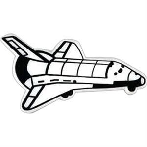 Space Shuttle Shaped Plastic Lapel Pin With Clutch Back Style