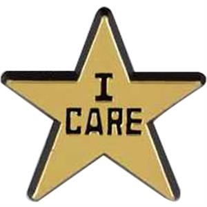 "Star-shaped Plastic Lapel Pin With ""i Care"" Lettering"
