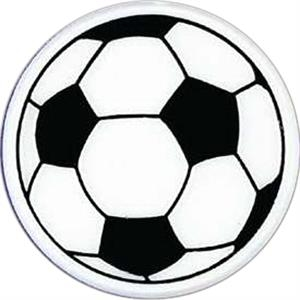 Soccer Ball-shaped Plastic Lapel Pin With Clutch Back Style