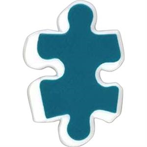Puzzle Piece-shaped Plastic Lapel Pin With Clutch Back Style