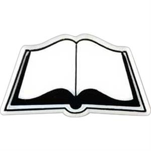 Open Book-shaped Plastic Lapel Pin With Clutch Back Style