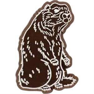Badger-shaped Plastic Lapel Pin With Clutch Back Style