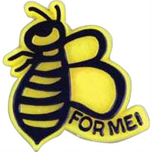 "Bee-shaped Plastic Lapel Pin With ""for Me!"" Lettering And Clutch Back Style"