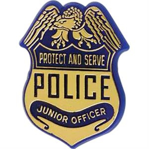 "Police Badge-shaped Plastic Lapel Pin With ""protect And Serve"" Lettering"