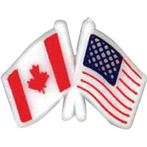 Canadian/usa Crossed Flags-shaped Plastic Lapel Pin With Clutch Back Style