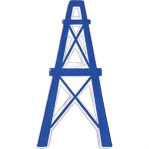 Oil Derrick-shaped Plastic Lapel Pin With Clutch Back Style