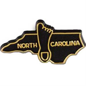 North Carolina - Plastic Stock State Design Lapel Pin With A Clutch Back