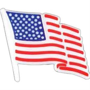 Plastic Patriotic Lapel Pin With Stock Waving Flag Design